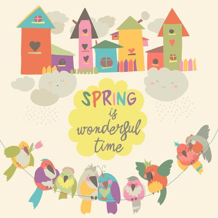 Colorful birds and birdhouses in spring. Vector illustration