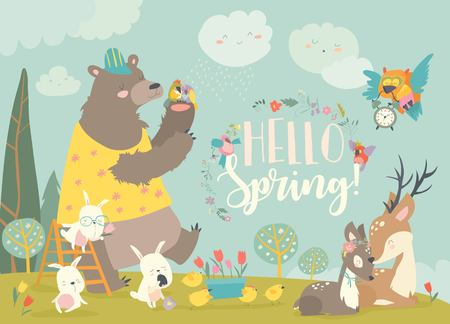 Cute animals meeting spring in the forest. Vector illustration