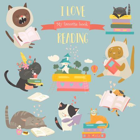 Cute funny cartoon cats reading books. Vector illustration