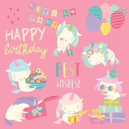 Vector set illustration of cute white unicorns with birthday theme