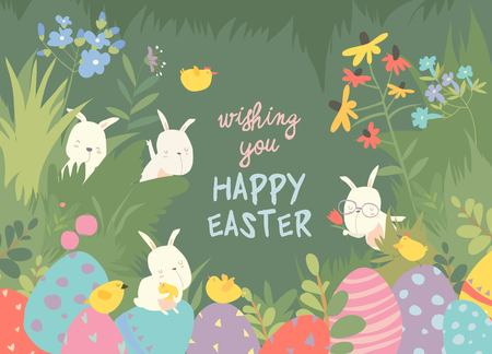 Easter bunnies and easter egg. Vector illustration Stock Vector - 125482355