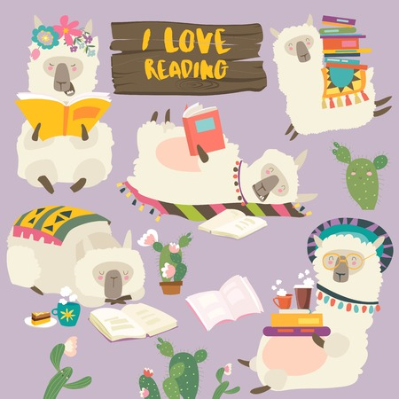 Funny cartoon llamas alpaca reading books. Vector illustration Stock Illustratie
