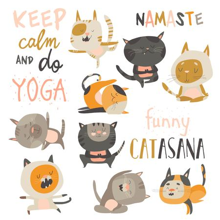 Cute cats in yoga postures. Vector collection on white background Ilustração