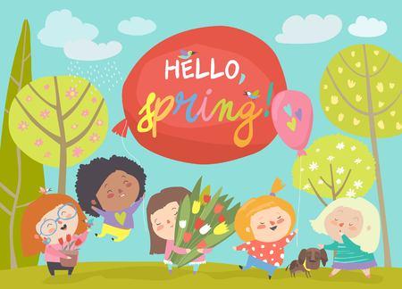 Cute little girls meeting spring in park. Vector illustration