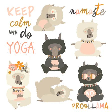 Cute llama alpaca in yoga postures. Vector collection on white background