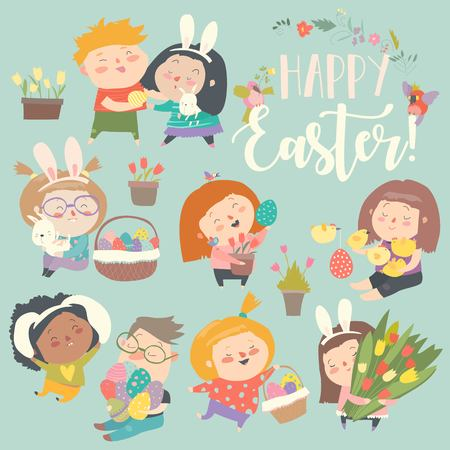 Cute little children with Easter theme. Happy Easter. Vector set