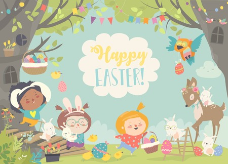 Happy children and animals celebrating Easter. Vector illustration
