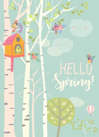 Betulla e birdhouse con uccellini nella foresta di primavera. Illustrazione vettoriale