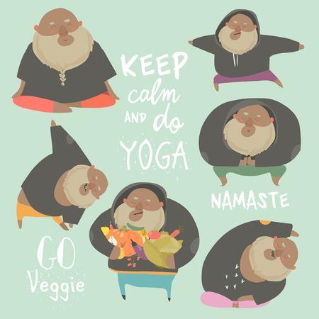 Funny chubby man doing yoga. Healthy lifestyle. Vector set