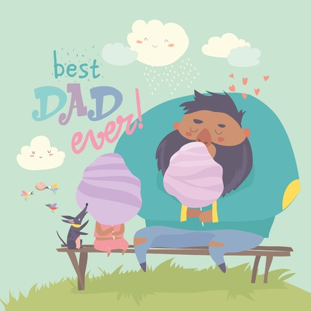 Father with his daughter eating cotton candy