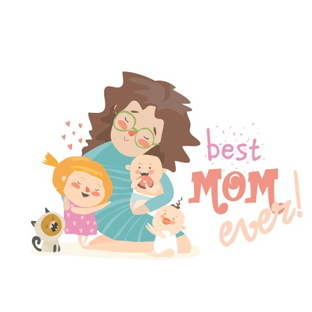 Happy woman sitting with her children.Mothers day holiday concept. Vector illustration