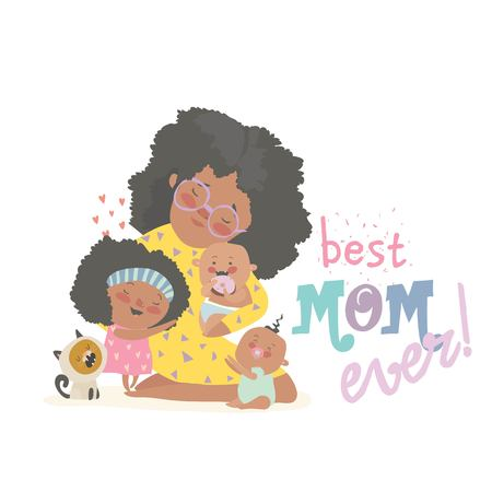 Happy african-american woman sitting with her children.Mothers day holiday concept. Vector illustration 版權商用圖片 - 124254567
