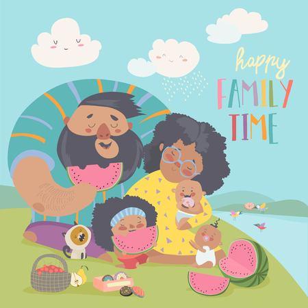 Glückliche Familie bei einem Picknick. Papa, Mama, Tochter und Babys ruhen in der Natur. Vektor-Illustration Vektorgrafik