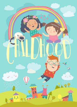 Niños felices con arco iris. Fondo de verano. Ilustración vectorial