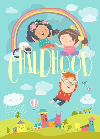 Szczęśliwe dzieci z tęczą. Lato w tle. Ilustracja wektorowa