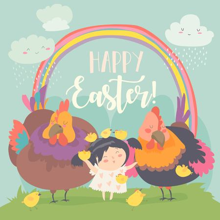 Cute little girl with funny chickens. Happy Easter. Vector greeting card Stock Vector - 120085586