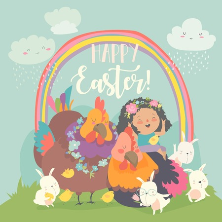 Cute little girl with funny chickens and rabbits. Happy Easter. Vector greeting card Vettoriali