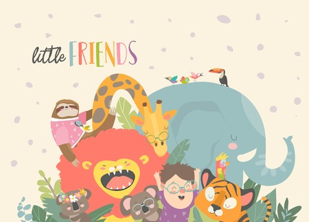 Little boy with cartoon animal. Happy friends. Vector illustration