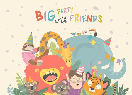 Vector birthday background with happy animals. Happy birthday