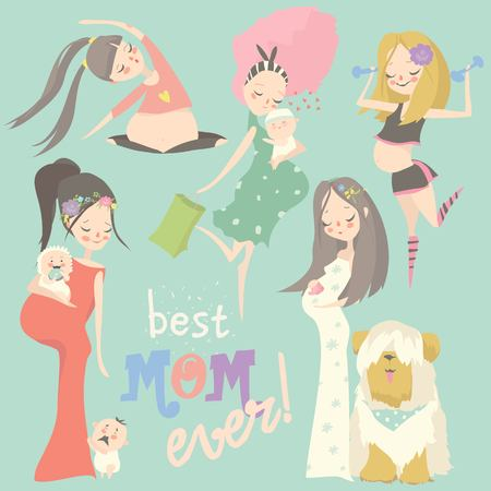Conjunto de moda embarazada. Mamá mujer feliz esperando bebé en vestidos. Ilustración de vector de dibujos animados de embarazo. Ilustración de vector
