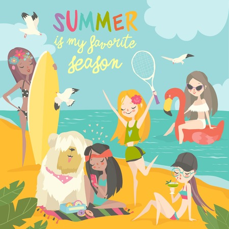 Summer travel. Set of girls in a bikini, traveling summer in exotic place and relax at sea