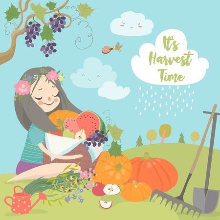 Vector Illustration of a Girl Holding a Basket Full of Vegetables Standard-Bild - 122825734