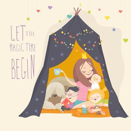 Mama und ihr Sohn spielen in einem Tipi-Zelt. Kinder haben Spaß in einer Hütte. Vektorillustration