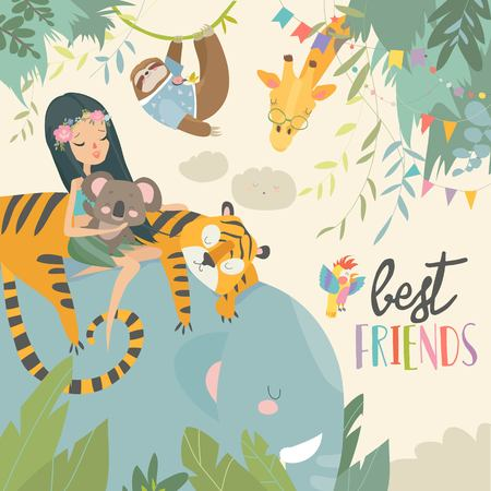Pretty girl with cartoon animal. Happy friends. Vector illustration Иллюстрация