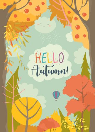 Cartoon frame with autumn forest. Hello autumn 일러스트
