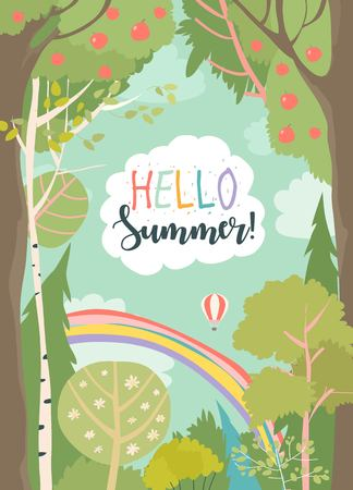 Cartoon frame with summer forest and rainbow Illustration