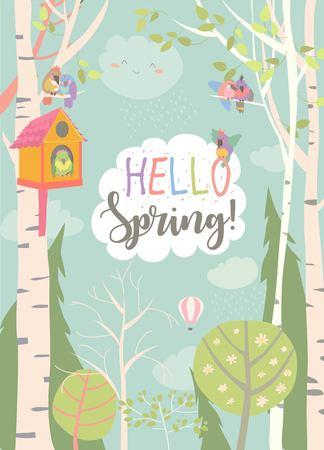 Marco de dibujos animados con bosque de primavera y aves. Ilustración vectorial