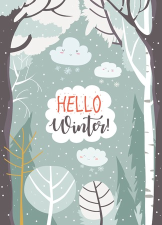 Cartoon frame with winter forest. Vector illustration Çizim