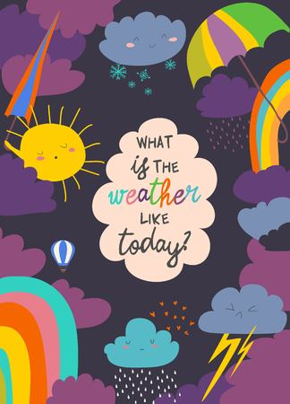 Cartoon frame with weather. Vector illustration