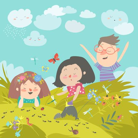 Cartoon kids look at insect in grass