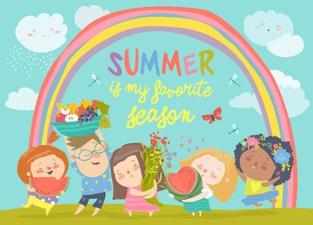 Cartoon children with flowers and fruits. Vector illustraton