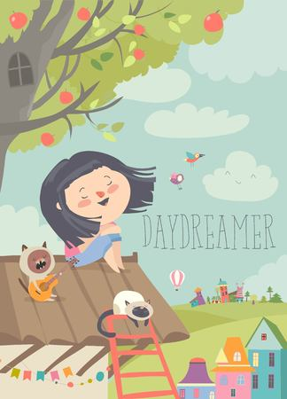 Pretty daydreamer sitting with cats on the roof Illustration