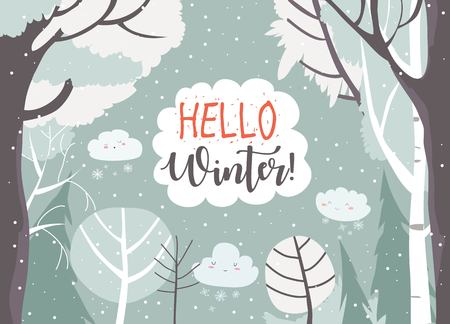 Cartoon frame with winter forest. Vector illustration Standard-Bild - 123987188