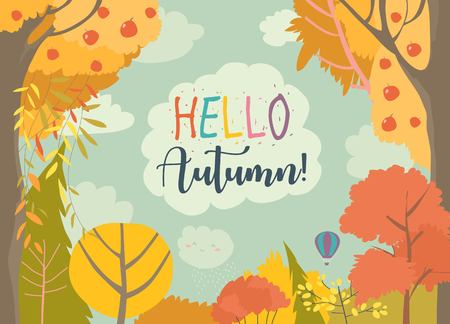 Cartoon frame with autumn forest. Hello autumn 스톡 콘텐츠 - 124098491