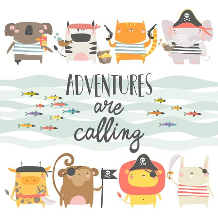 Cute animals with pirate and sailor attributes style