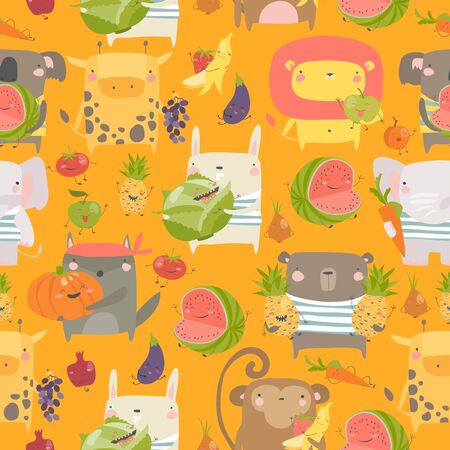 Seamless pattern with cartoon animals holding fruits and vegetables on orange background Illustration