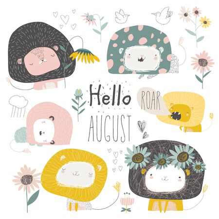 Set of cute lions and flowers. Hello august