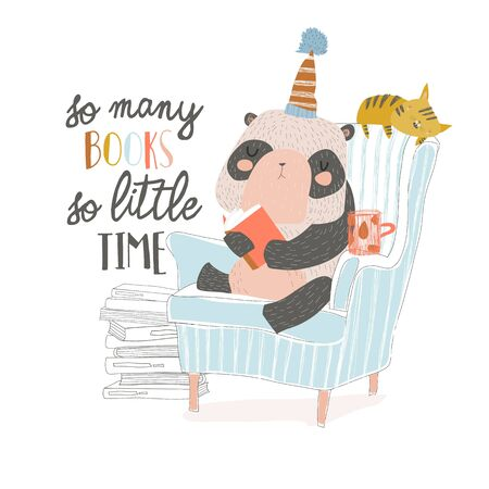 Cute panda sitting in armchair and reading book  イラスト・ベクター素材