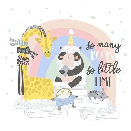 Cute animals sitting on stacks of books Illustration