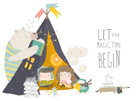 Kids reading book with animals in a teepee tent Illustration