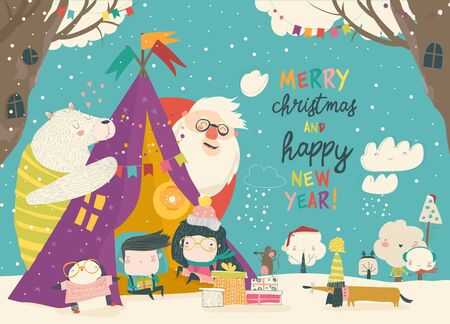 Kids celebrating Christmas with animals and Santa in a teepee tent. Vector Illustration