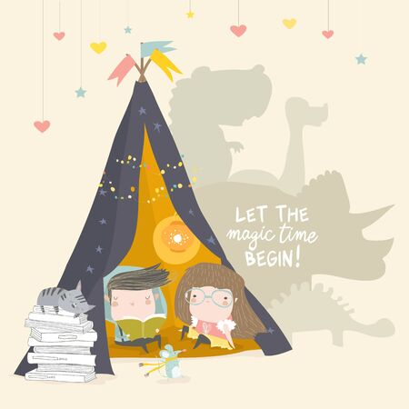 Kids reading book in a teepee tent