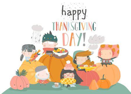 Cartoon children harvesting on white background. Happy Thanksgiving Day Illustration
