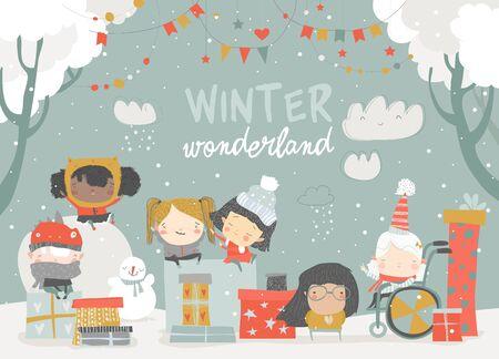 Cartoon different children enjoying winter. Hello snow. Vector illustration