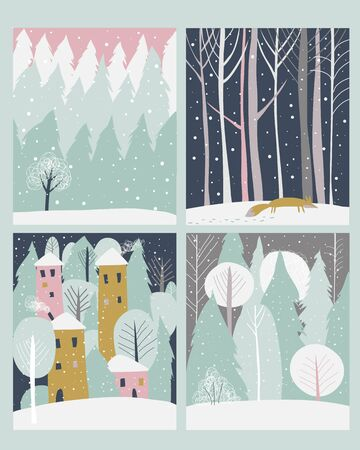 Set of winter lanscape in flat style