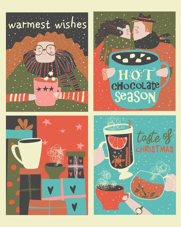 Set of cartoon christmas cards with winter beverages